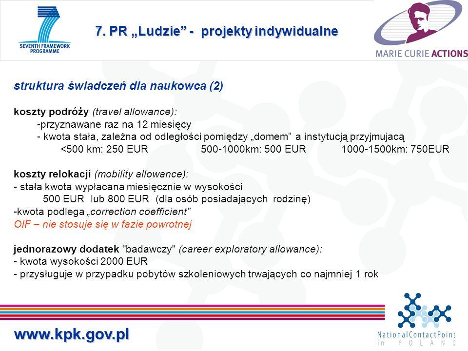 """7. PR """"Ludzie"""" - projekty indywidualne www.kpk.gov.pl struktura świadczeń dla naukowca (2) koszty podróży (travel allowance): -przyznawane raz na 12 m"""