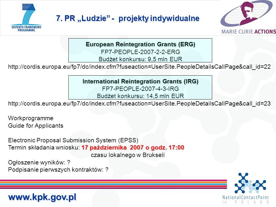 "7. PR ""Ludzie"" - projekty indywidualne www.kpk.gov.pl European Reintegration Grants (ERG) FP7-PEOPLE-2007-2-2-ERG Budżet konkursu: 9,5 mln EUR http://"