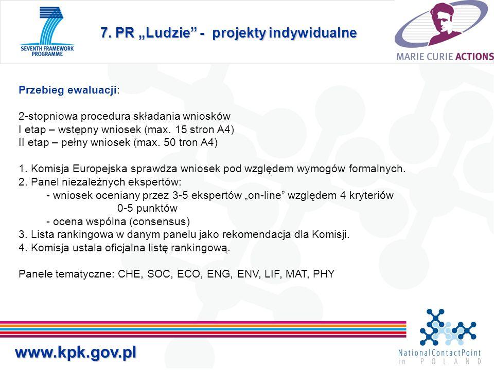 www.kpk.gov.pl Przebieg ewaluacji: 2-stopniowa procedura składania wniosków I etap – wstępny wniosek (max.
