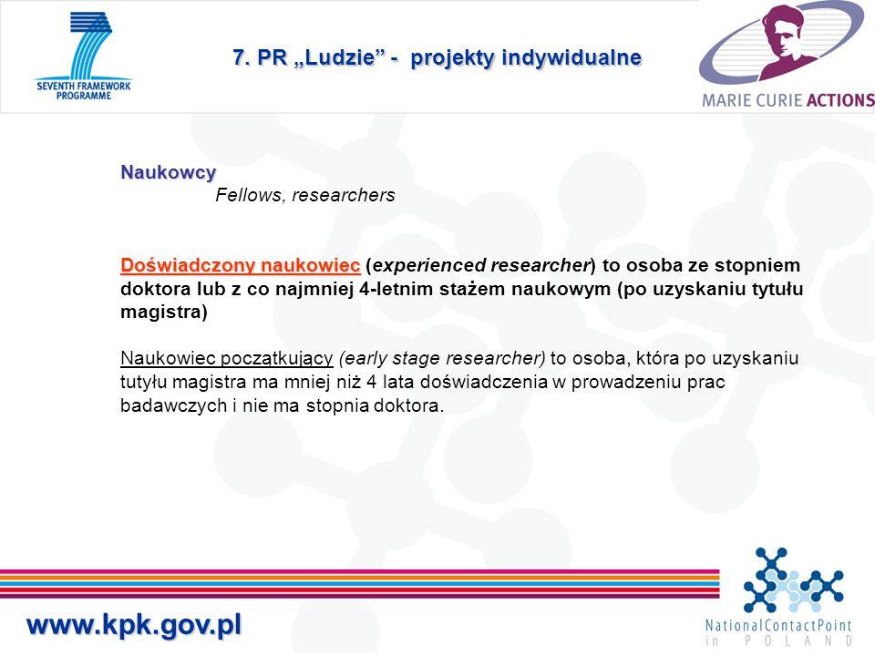 """7. PR """"Ludzie"""" - projekty indywidualne Naukowcy Doświadczony naukowiec Naukowcy Fellows, researchers Doświadczony naukowiec (experienced researcher) t"""