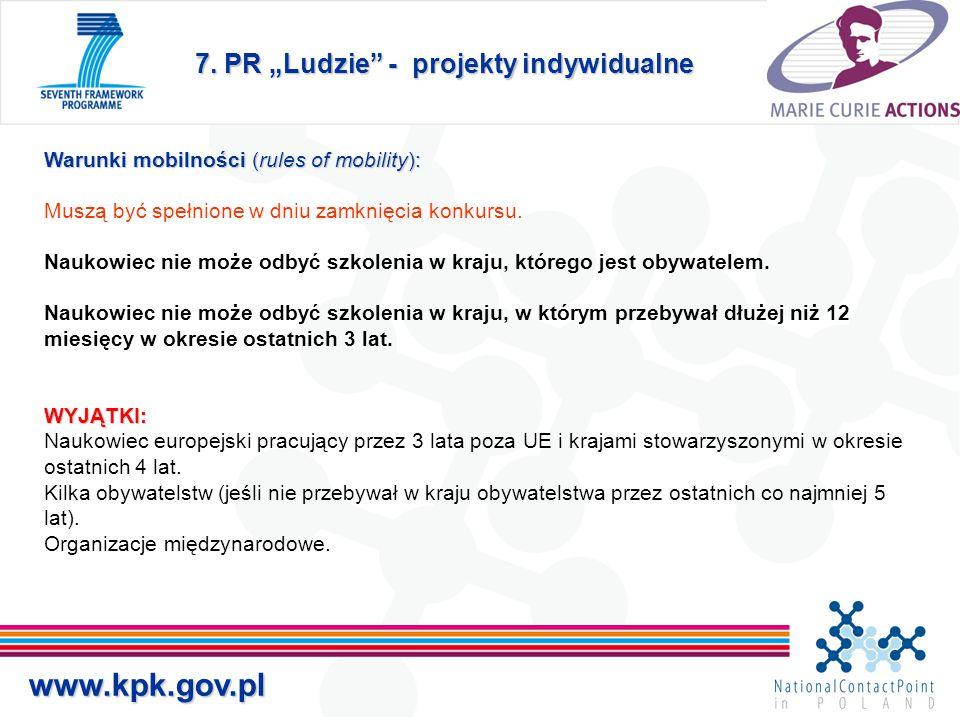 """7. PR """"Ludzie"""" - projekty indywidualne Warunki mobilności (rules of mobility): WYJĄTKI: Warunki mobilności (rules of mobility): Muszą być spełnione w"""