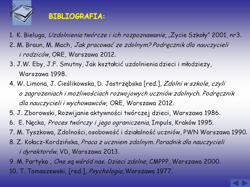 """BIBLIOGRAFIA: 1. K. Bieluga, Uzdolnienia twórcze i ich rozpoznawanie, """"Życie Szkoły"""" 2001, nr3. 2. M. Braun, M. Mach, Jak pracować ze zdolnym? Podręcz"""