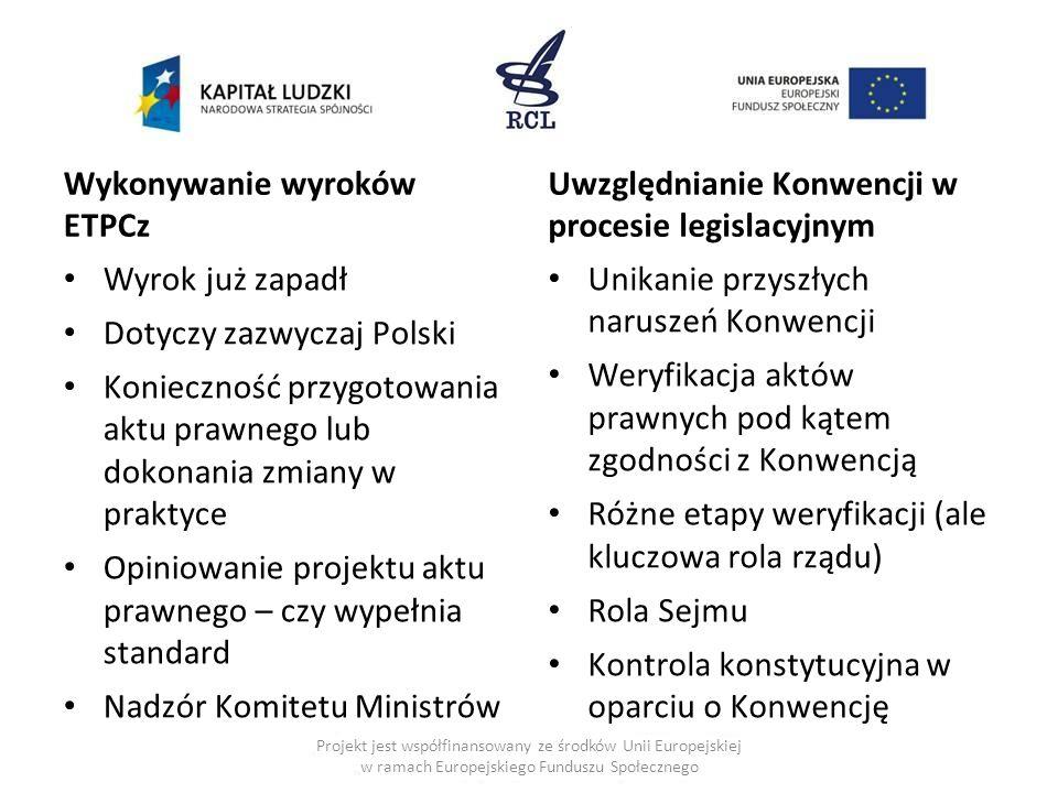 Wykonywanie wyroków ETPCz Wyrok już zapadł Dotyczy zazwyczaj Polski Konieczność przygotowania aktu prawnego lub dokonania zmiany w praktyce Opiniowani