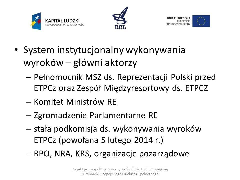 System instytucjonalny wykonywania wyroków – główni aktorzy – Pełnomocnik MSZ ds. Reprezentacji Polski przed ETPCz oraz Zespół Międzyresortowy ds. ETP