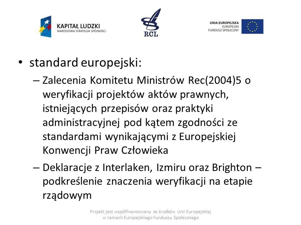 standard europejski: – Zalecenia Komitetu Ministrów Rec(2004)5 o weryfikacji projektów aktów prawnych, istniejących przepisów oraz praktyki administra