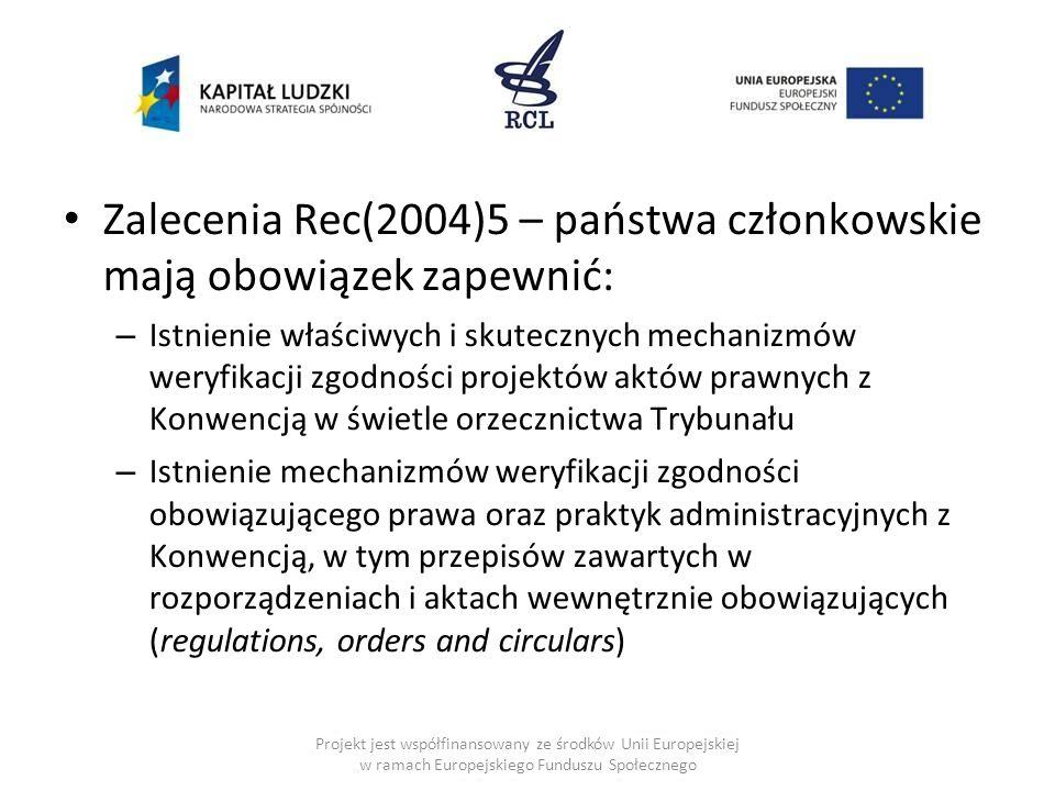 Zalecenia Rec(2004)5 – państwa członkowskie mają obowiązek zapewnić: – Istnienie właściwych i skutecznych mechanizmów weryfikacji zgodności projektów