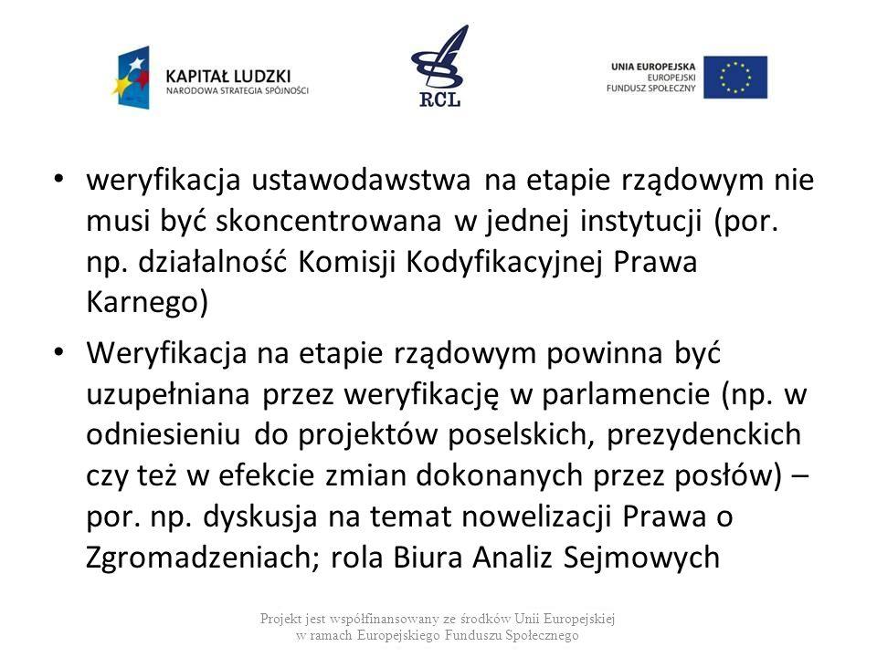 weryfikacja ustawodawstwa na etapie rządowym nie musi być skoncentrowana w jednej instytucji (por. np. działalność Komisji Kodyfikacyjnej Prawa Karneg