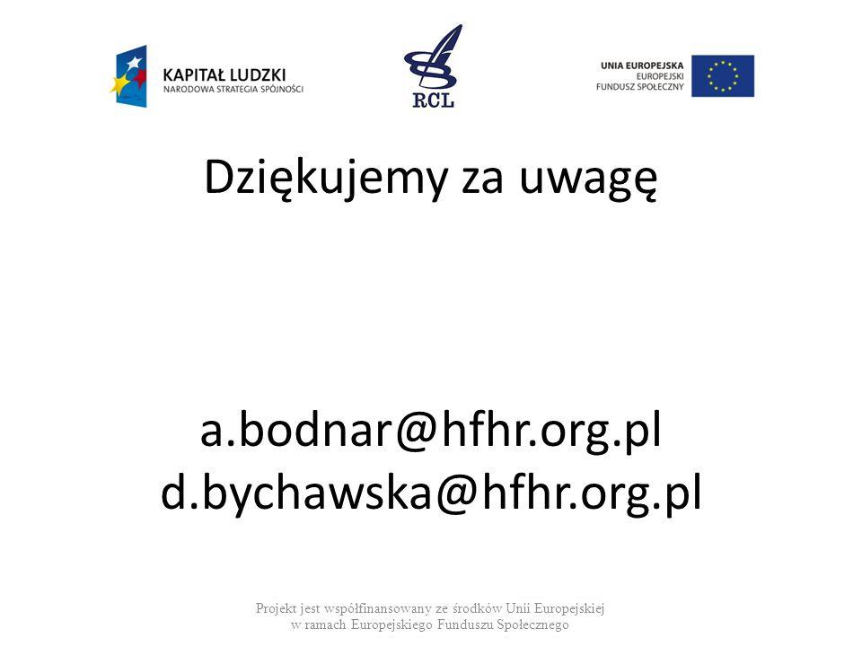 Dziękujemy za uwagę a.bodnar@hfhr.org.pl d.bychawska@hfhr.org.pl Projekt jest współfinansowany ze środków Unii Europejskiej w ramach Europejskiego Fun