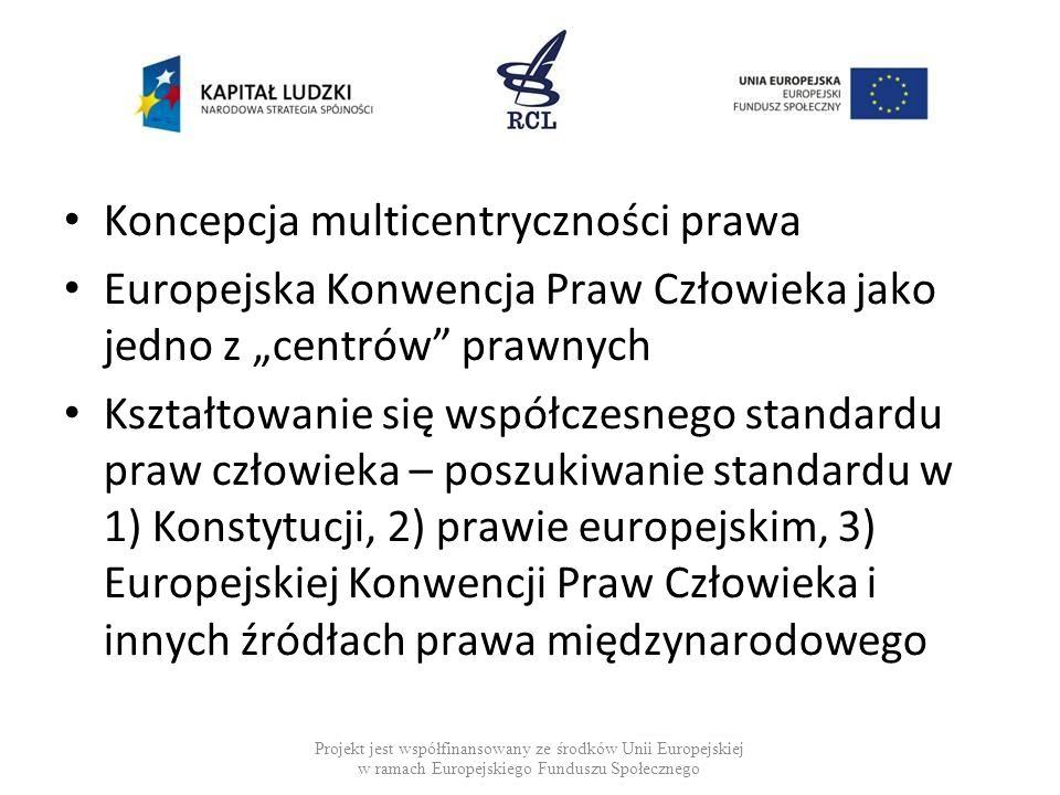 """Koncepcja multicentryczności prawa Europejska Konwencja Praw Człowieka jako jedno z """"centrów"""" prawnych Kształtowanie się współczesnego standardu praw"""