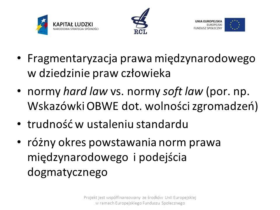 Fragmentaryzacja prawa międzynarodowego w dziedzinie praw człowieka normy hard law vs. normy soft law (por. np. Wskazówki OBWE dot. wolności zgromadze