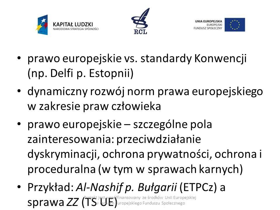 prawo europejskie vs. standardy Konwencji (np. Delfi p. Estopnii) dynamiczny rozwój norm prawa europejskiego w zakresie praw człowieka prawo europejsk
