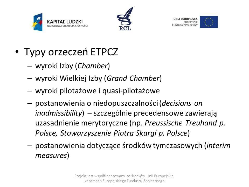 Typy orzeczeń ETPCZ – wyroki Izby (Chamber) – wyroki Wielkiej Izby (Grand Chamber) – wyroki pilotażowe i quasi-pilotażowe – postanowienia o niedopuszc