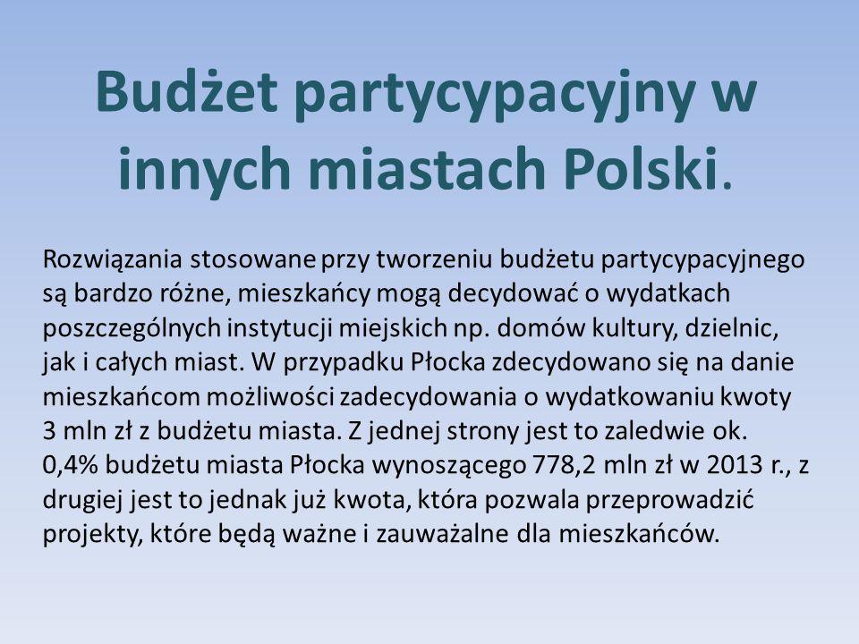 Rozwiązania stosowane przy tworzeniu budżetu partycypacyjnego są bardzo różne, mieszkańcy mogą decydować o wydatkach poszczególnych instytucji miejskich np.