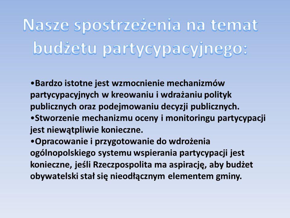 Bardzo istotne jest wzmocnienie mechanizmów partycypacyjnych w kreowaniu i wdrażaniu polityk publicznych oraz podejmowaniu decyzji publicznych.