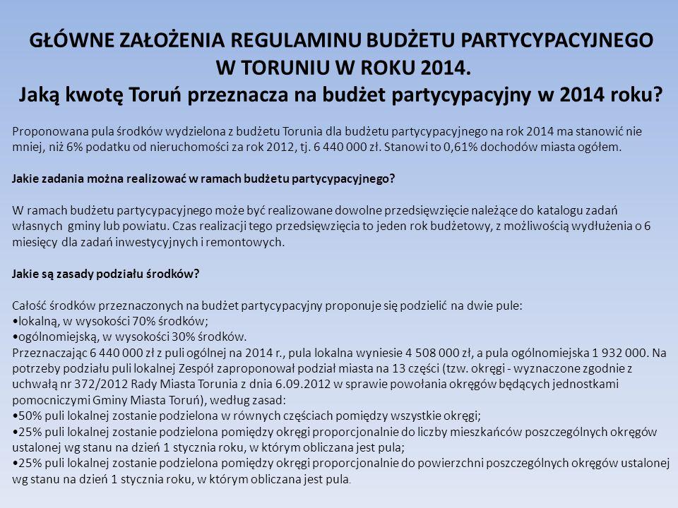 GŁÓWNE ZAŁOŻENIA REGULAMINU BUDŻETU PARTYCYPACYJNEGO W TORUNIU W ROKU 2014.