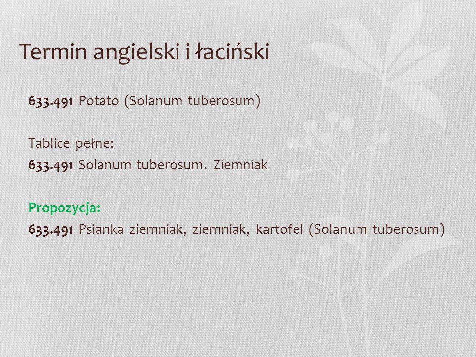 Termin angielski i łaciński 633.491 Potato (Solanum tuberosum) Tablice pełne: 633.491 Solanum tuberosum. Ziemniak Propozycja: 633.491 Psianka ziemniak