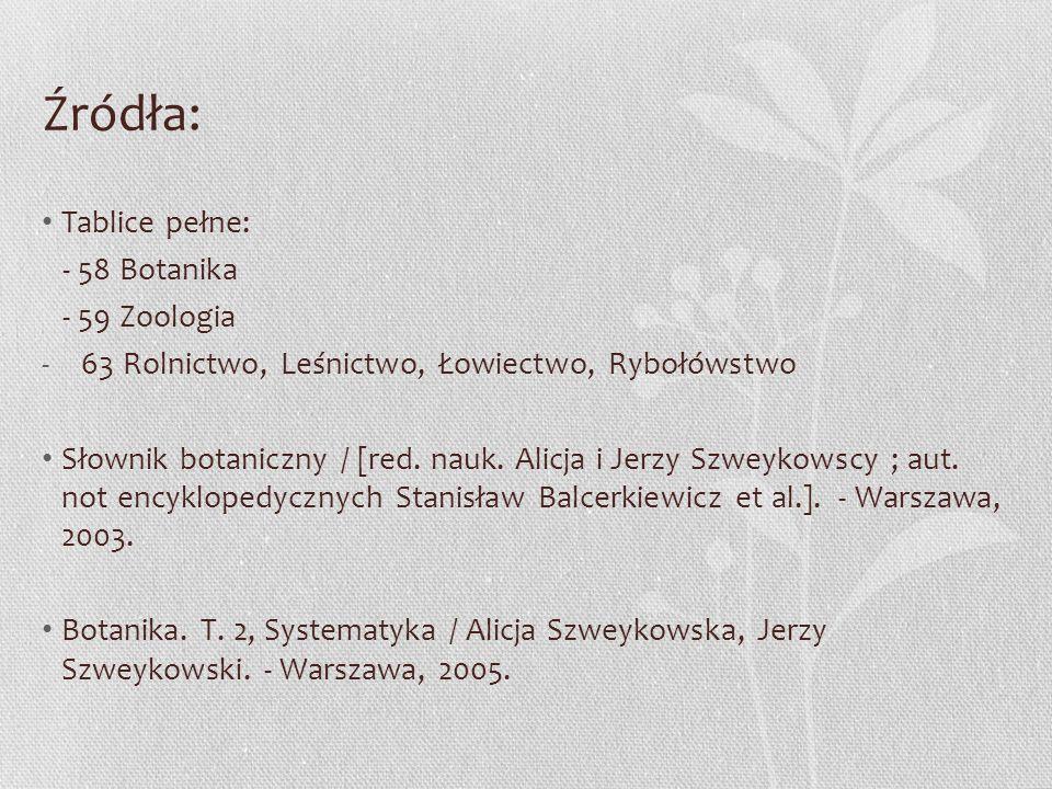 Źródła: Tablice pełne: - 58 Botanika - 59 Zoologia -63 Rolnictwo, Leśnictwo, Łowiectwo, Rybołówstwo Słownik botaniczny / [red. nauk. Alicja i Jerzy Sz