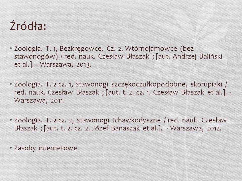 Źródła: Zoologia. T. 1, Bezkręgowce. Cz. 2, Wtórnojamowce (bez stawonogów) / red. nauk. Czesław Błaszak ; [aut. Andrzej Baliński et al.]. - Warszawa,