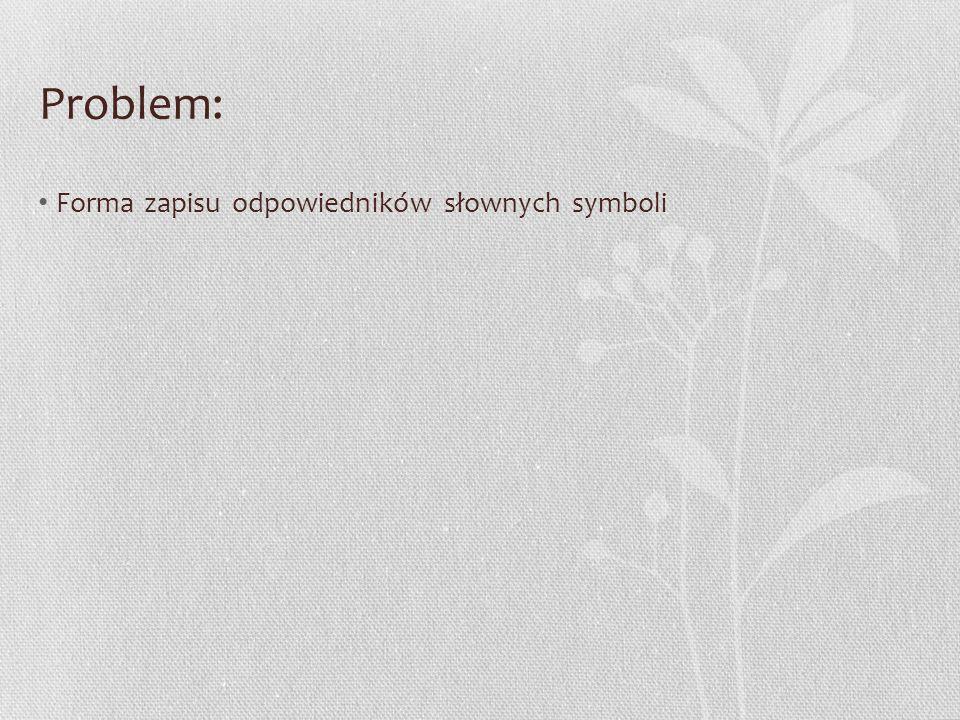 Problem: Forma zapisu odpowiedników słownych symboli