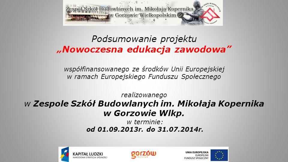 """Podsumowanie projektu """"Nowoczesna edukacja zawodowa"""" współfinansowanego ze środków Unii Europejskiej w ramach Europejskiego Funduszu Społecznego reali"""