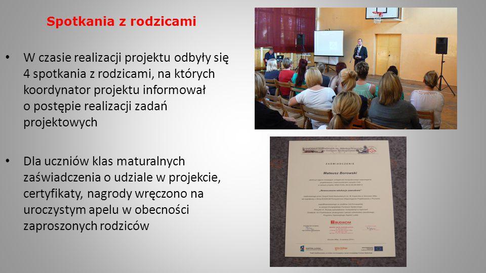 Spotkania z rodzicami W czasie realizacji projektu odbyły się 4 spotkania z rodzicami, na których koordynator projektu informował o postępie realizacj