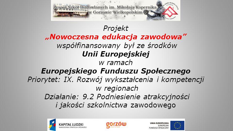 """Projekt """"Nowoczesna edukacja zawodowa"""" współfinansowany był ze środków Unii Europejskiej w ramach Europejskiego Funduszu Społecznego Priorytet: IX. Ro"""