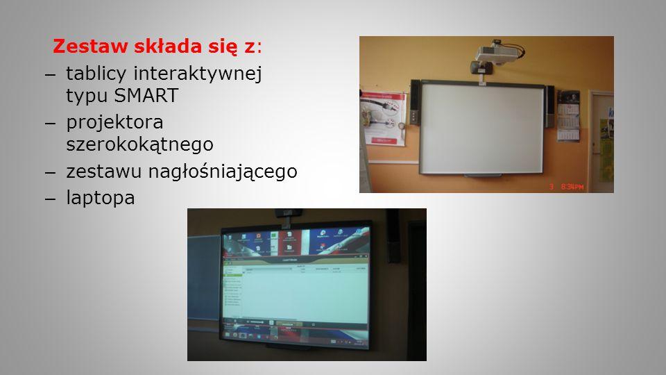 Zestaw składa się z: – tablicy interaktywnej typu SMART – projektora szerokokątnego – zestawu nagłośniającego – laptopa