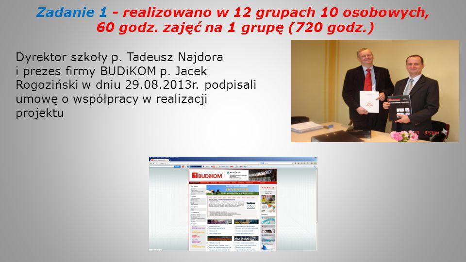 Zadanie 1 - realizowano w 12 grupach 10 osobowych, 60 godz. zajęć na 1 grupę (720 godz.) Dyrektor szkoły p. Tadeusz Najdora i prezes firmy BUDiKOM p.