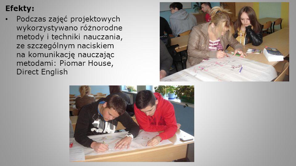 Efekty: Podczas zajęć projektowych wykorzystywano różnorodne metody i techniki nauczania, ze szczególnym naciskiem na komunikację nauczając metodami: