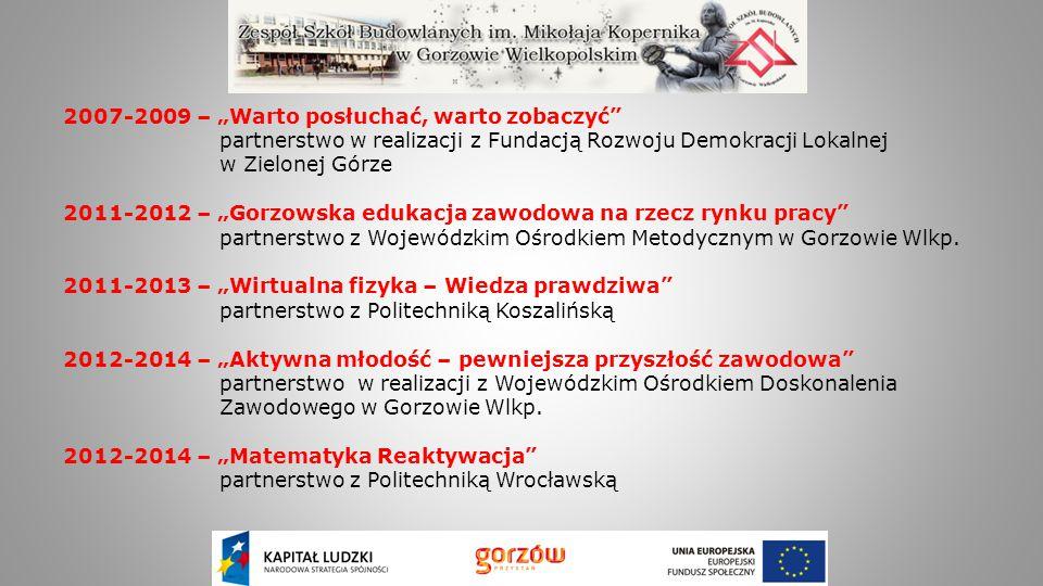 """2007-2009 – """"Warto posłuchać, warto zobaczyć"""" partnerstwo w realizacji z Fundacją Rozwoju Demokracji Lokalnej w Zielonej Górze 2011-2012 – """"Gorzowska"""