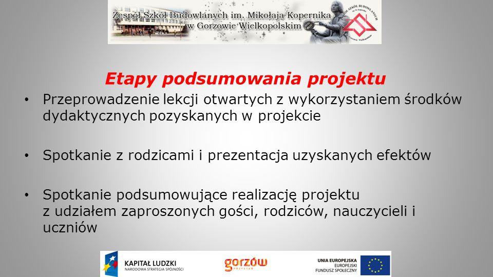 Efekty: 50 uczniów brało udział w stażach zawodowych, w 20 firmach branży budowlanej i samochodowej województwa lubuskiego Każdy z uczniów przepracował min.