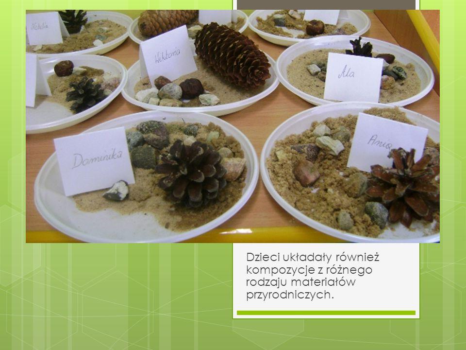 Dzieci układały również kompozycje z różnego rodzaju materiałów przyrodniczych.