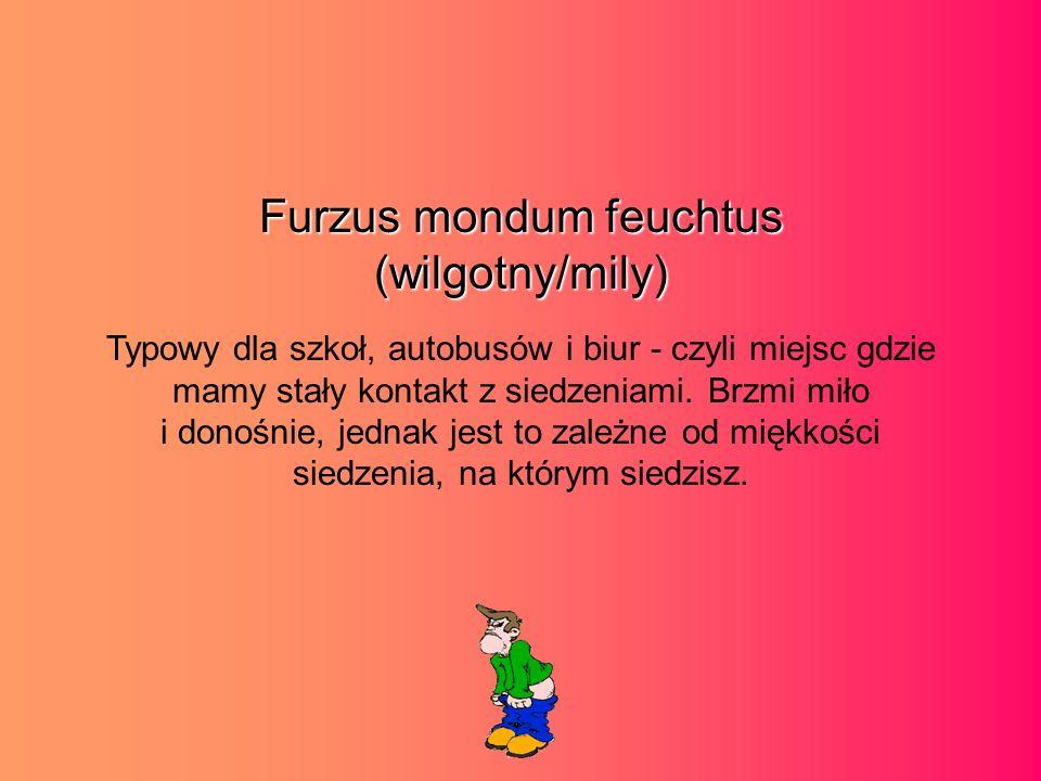 Furzus mondum feuchtus (wilgotny/mily) Typowy dla szkoł, autobusów i biur - czyli miejsc gdzie mamy stały kontakt z siedzeniami.