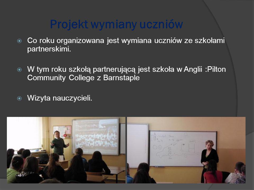 Projekt wymiany uczniów  Co roku organizowana jest wymiana uczniów ze szkołami partnerskimi.