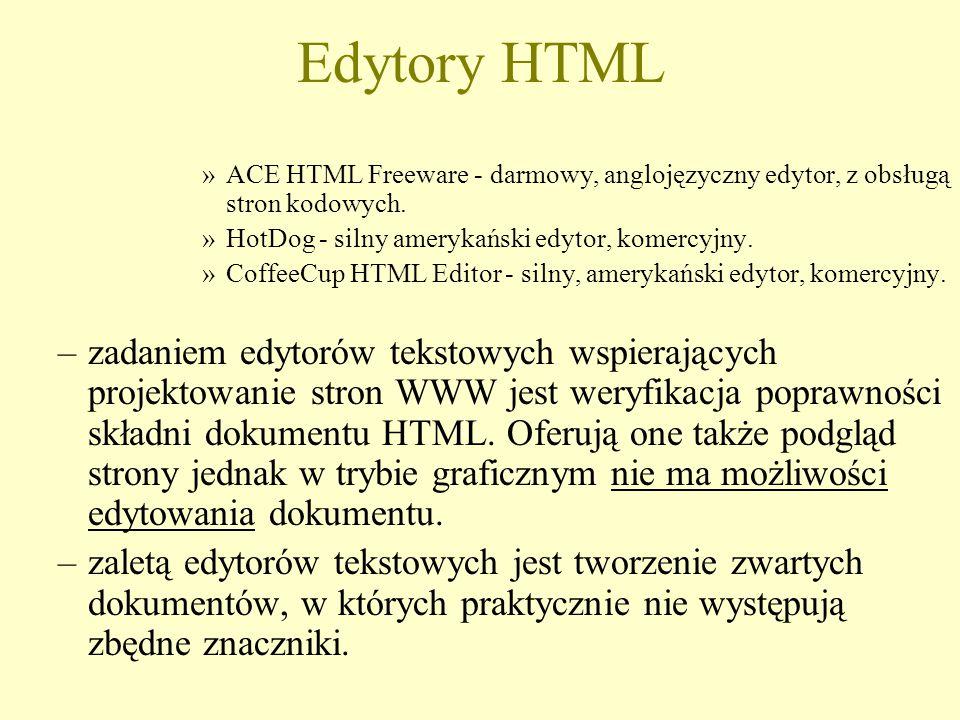 Edytory HTML »ACE HTML Freeware - darmowy, anglojęzyczny edytor, z obsługą stron kodowych.