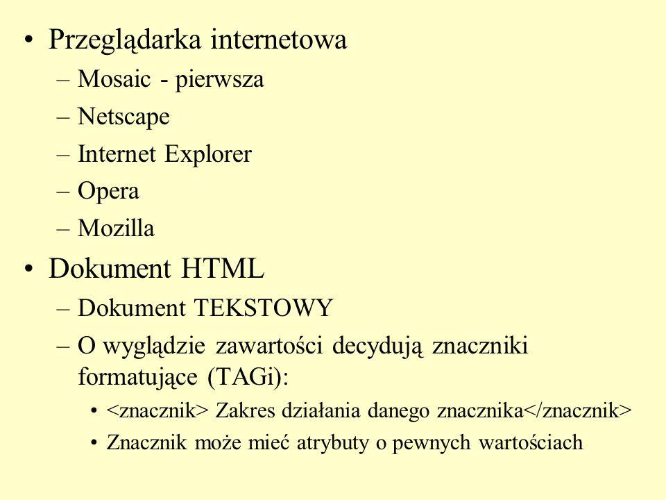 Przeglądarka internetowa –Mosaic - pierwsza –Netscape –Internet Explorer –Opera –Mozilla Dokument HTML –Dokument TEKSTOWY –O wyglądzie zawartości decydują znaczniki formatujące (TAGi): Zakres działania danego znacznika Znacznik może mieć atrybuty o pewnych wartościach