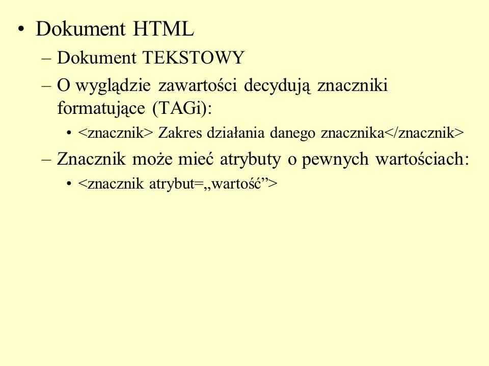 Dokument HTML –Dokument TEKSTOWY –O wyglądzie zawartości decydują znaczniki formatujące (TAGi): Zakres działania danego znacznika –Znacznik może mieć atrybuty o pewnych wartościach: