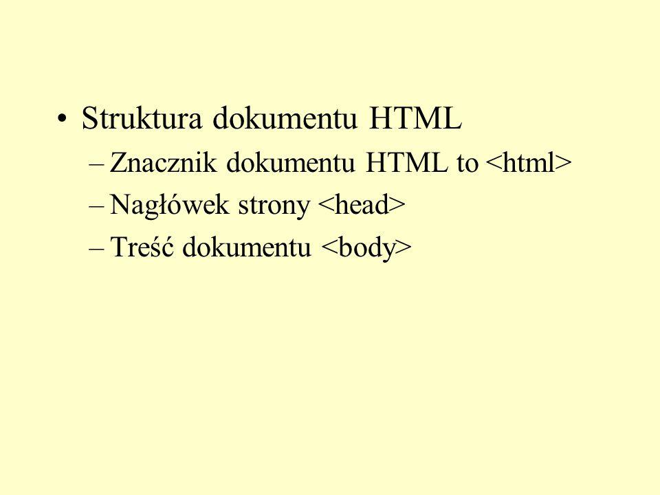 Struktura dokumentu HTML –Znacznik dokumentu HTML to –Nagłówek strony –Treść dokumentu