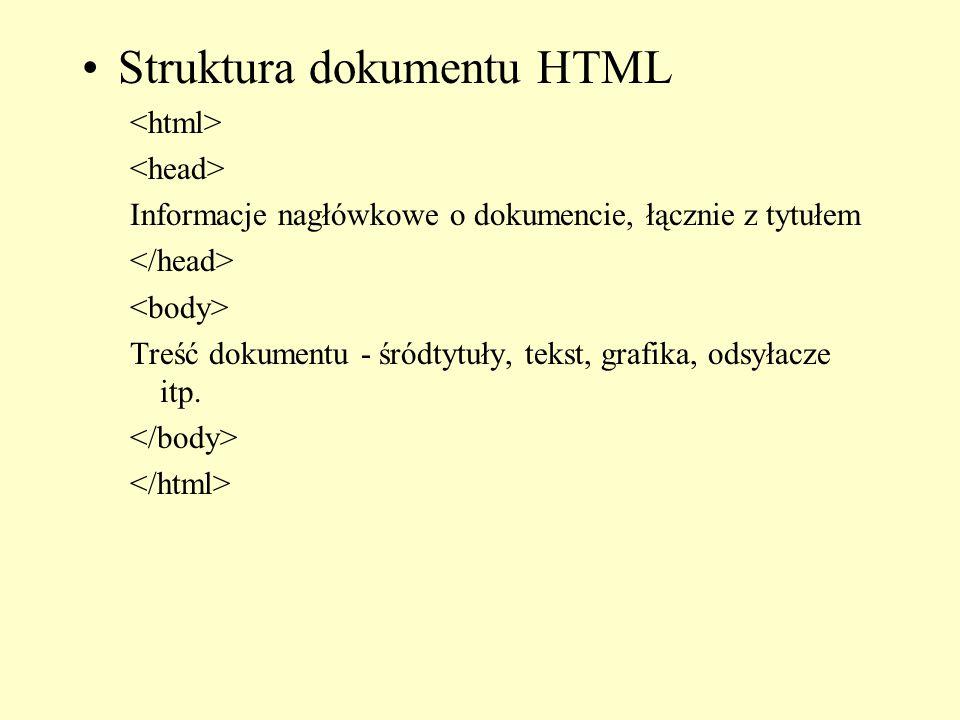 Struktura dokumentu HTML Informacje nagłówkowe o dokumencie, łącznie z tytułem Treść dokumentu - śródtytuły, tekst, grafika, odsyłacze itp.