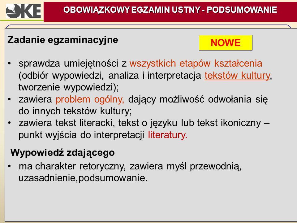 14 Zadanie egzaminacyjne sprawdza umiejętności z wszystkich etapów kształcenia (odbiór wypowiedzi, analiza i interpretacja tekstów kultury, tworzenie