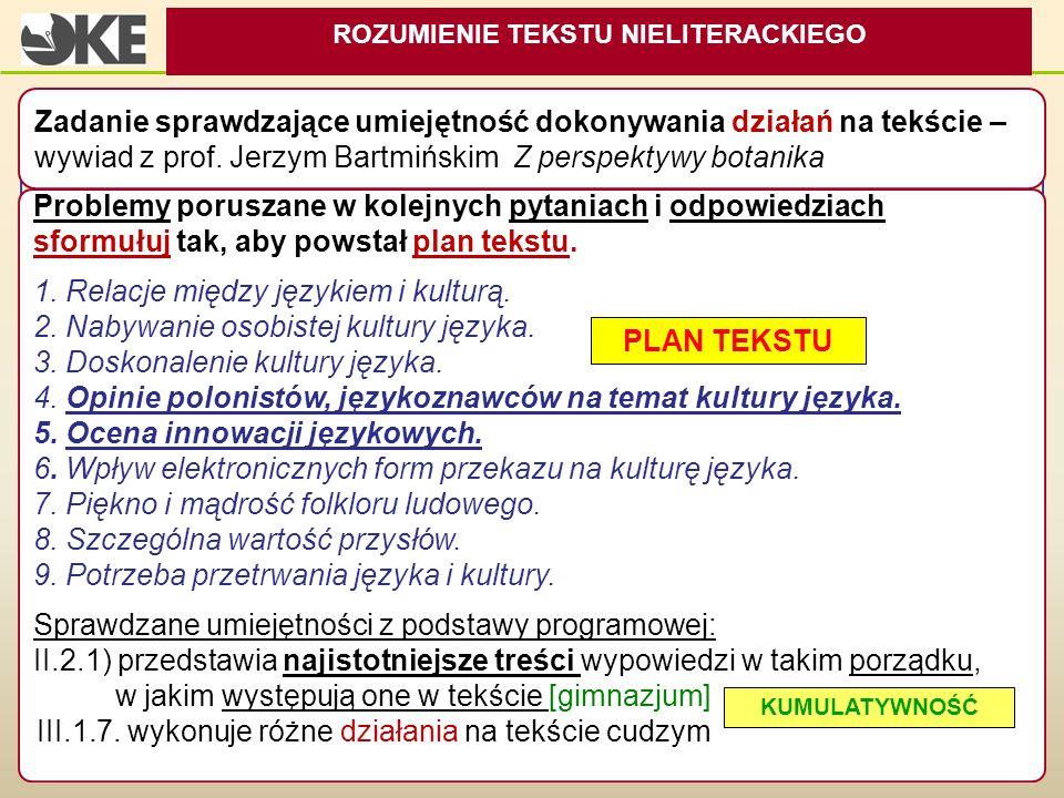 Problemy poruszane w kolejnych pytaniach i odpowiedziach sformułuj tak, aby powstał plan tekstu. 1. Relacje między językiem i kulturą. 2. Nabywanie os