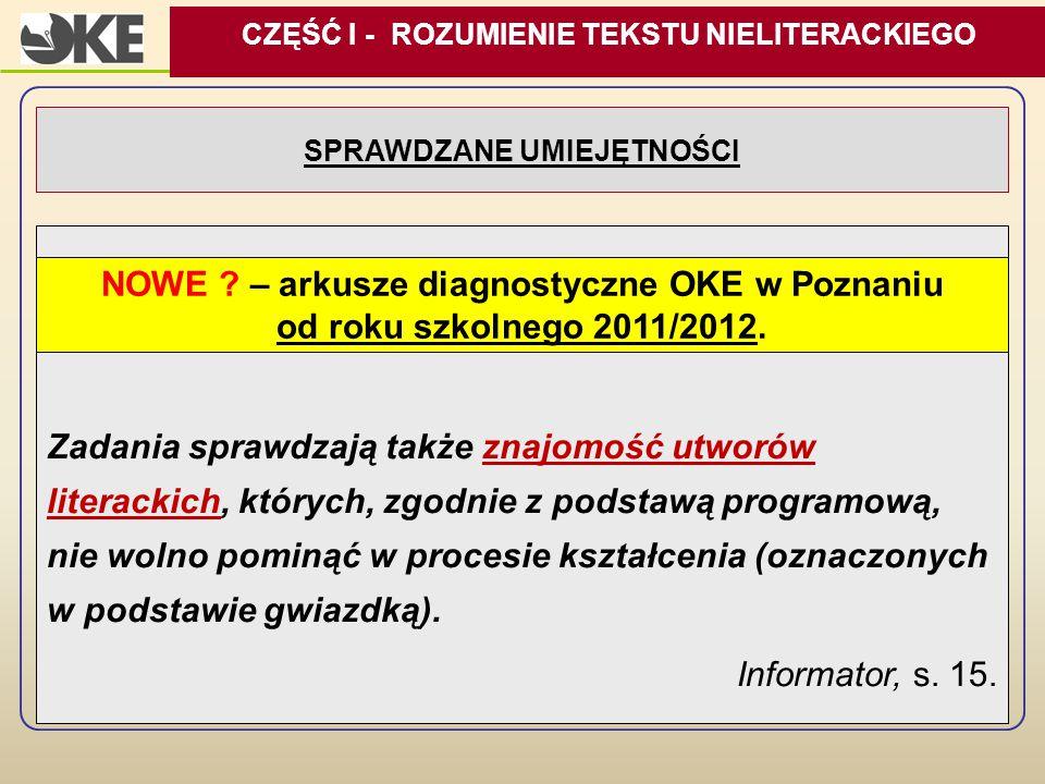 SPRAWDZANE UMIEJĘTNOŚCI Zadania sprawdzają także znajomość utworów literackich, których, zgodnie z podstawą programową, nie wolno pominąć w procesie k