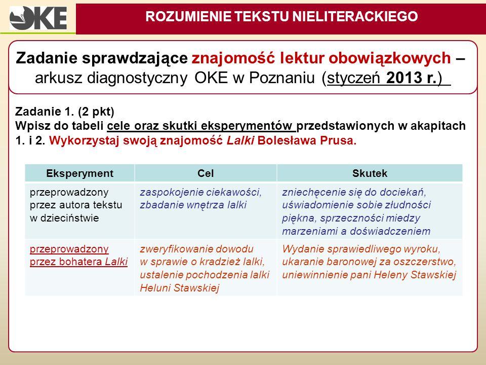 Zadanie 1. (2 pkt) Wpisz do tabeli cele oraz skutki eksperymentów przedstawionych w akapitach 1. i 2. Wykorzystaj swoją znajomość Lalki Bolesława Prus