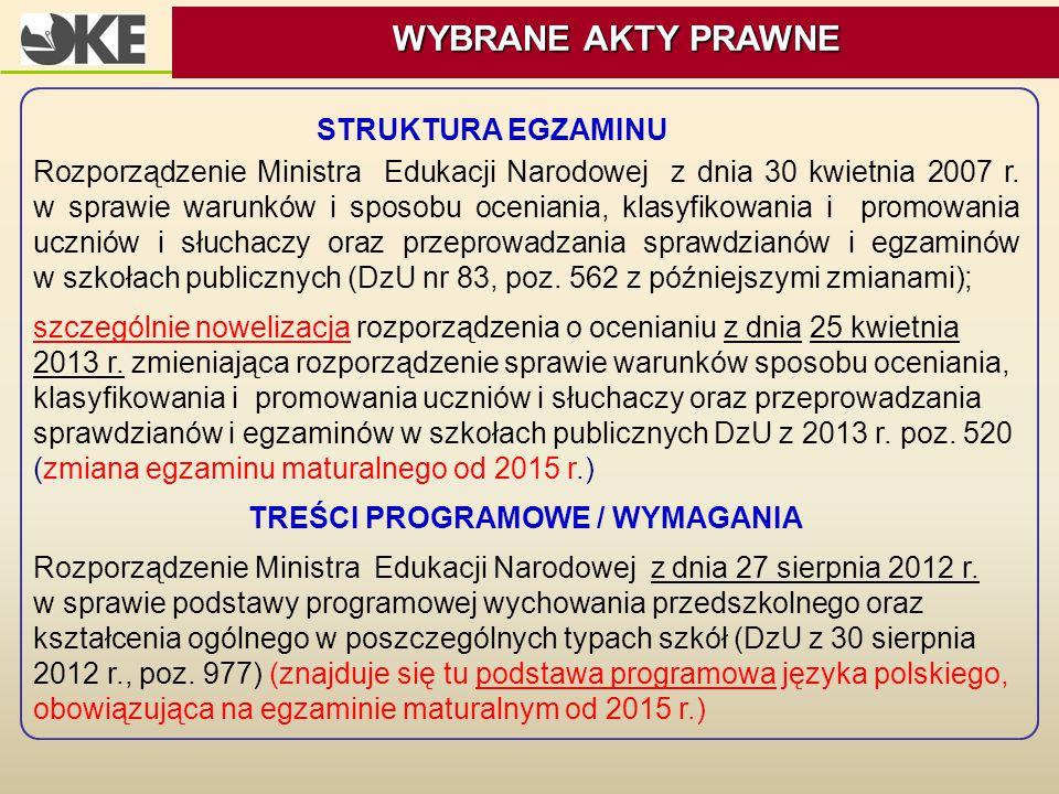 STRUKTURA EGZAMINU Rozporządzenie Ministra Edukacji Narodowej z dnia 30 kwietnia 2007 r. w sprawie warunków i sposobu oceniania, klasyfikowania i prom