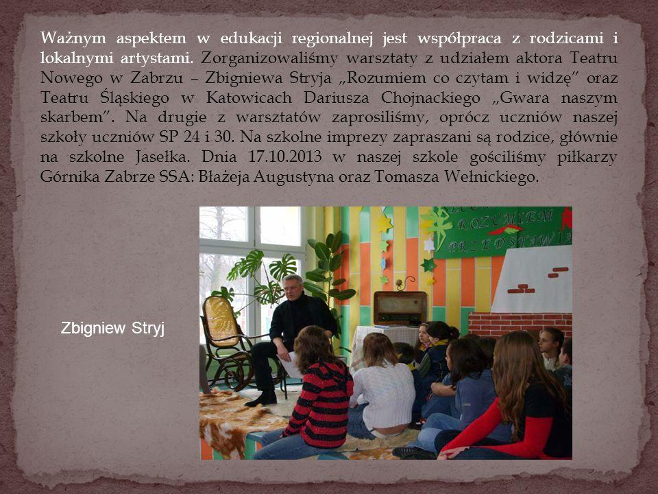 Ważnym aspektem w edukacji regionalnej jest współpraca z rodzicami i lokalnymi artystami. Zorganizowaliśmy warsztaty z udziałem aktora Teatru Nowego w