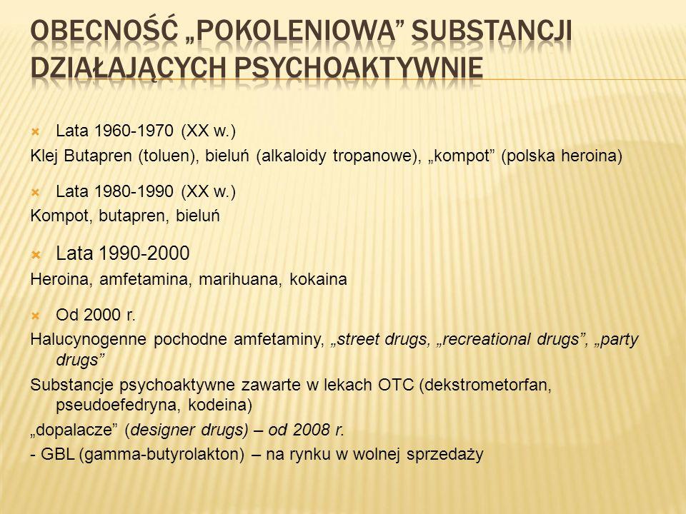""" Lata 1960-1970 (XX w.) Klej Butapren (toluen), bieluń (alkaloidy tropanowe), """"kompot (polska heroina)  Lata 1980-1990 (XX w.) Kompot, butapren, bieluń  Lata 1990-2000 Heroina, amfetamina, marihuana, kokaina  Od 2000 r."""