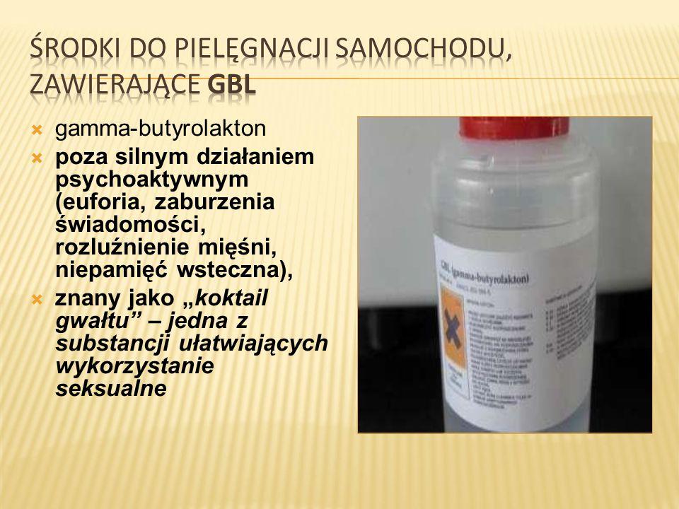  gamma-butyrolakton  poza silnym działaniem psychoaktywnym (euforia, zaburzenia świadomości, rozluźnienie mięśni, niepamięć wsteczna),  znany jako