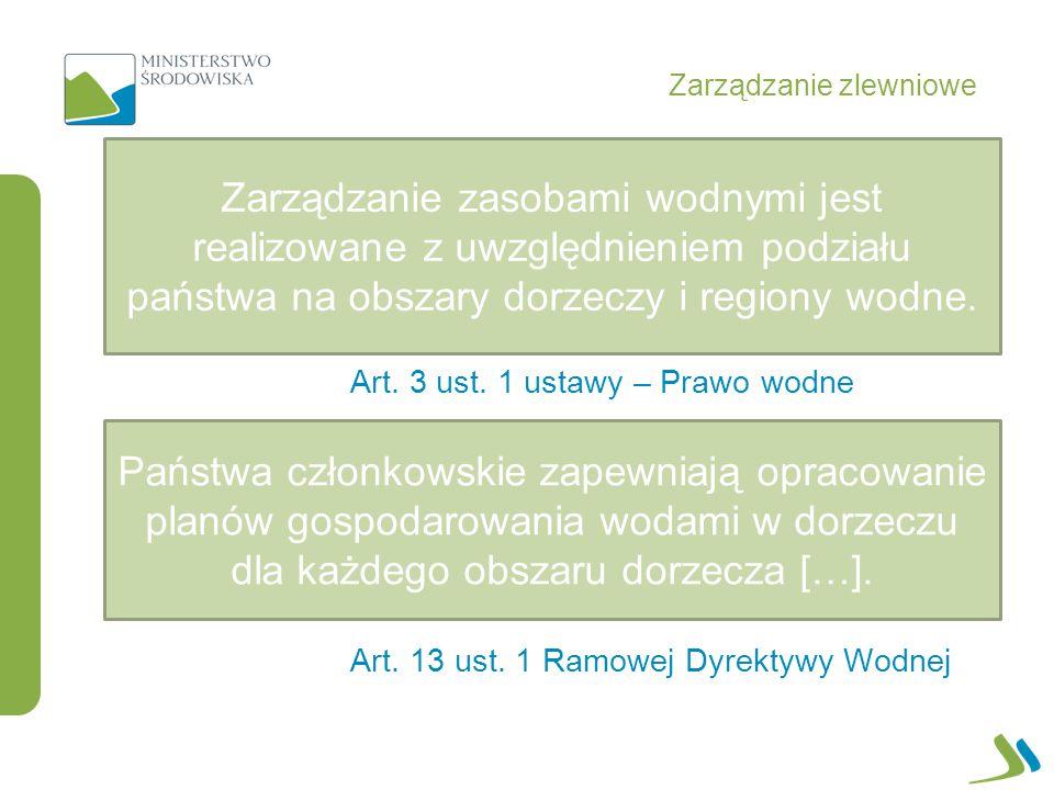 Zarządzanie zlewniowe Art. 3 ust. 1 ustawy – Prawo wodne Art. 13 ust. 1 Ramowej Dyrektywy Wodnej Zarządzanie zasobami wodnymi jest realizowane z uwzgl