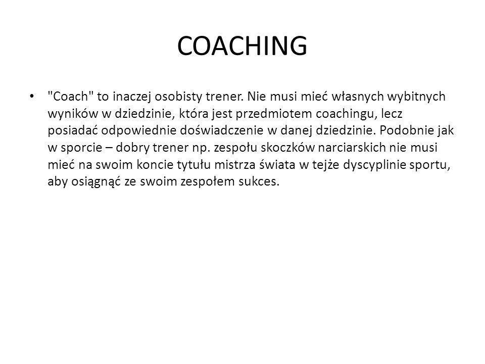 COACHING Coach to inaczej osobisty trener.