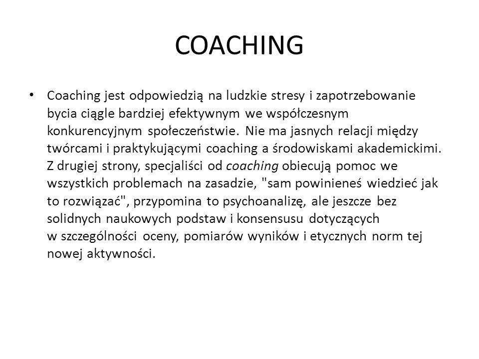 COACHING Coaching jest odpowiedzią na ludzkie stresy i zapotrzebowanie bycia ciągle bardziej efektywnym we współczesnym konkurencyjnym społeczeństwie.